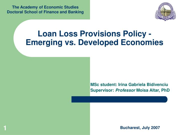 loan loss provisions policy emerging vs developed economies n.