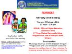 REMINDER February lunch meeting Thursday 27 February 2014 12 noon – 1-30 pm
