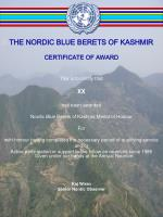 THE NORDIC BLUE BERETS OF KASHMIR CERTIFICATE OF AWARD