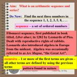 Aim:   What is an arithmetic sequence and series?