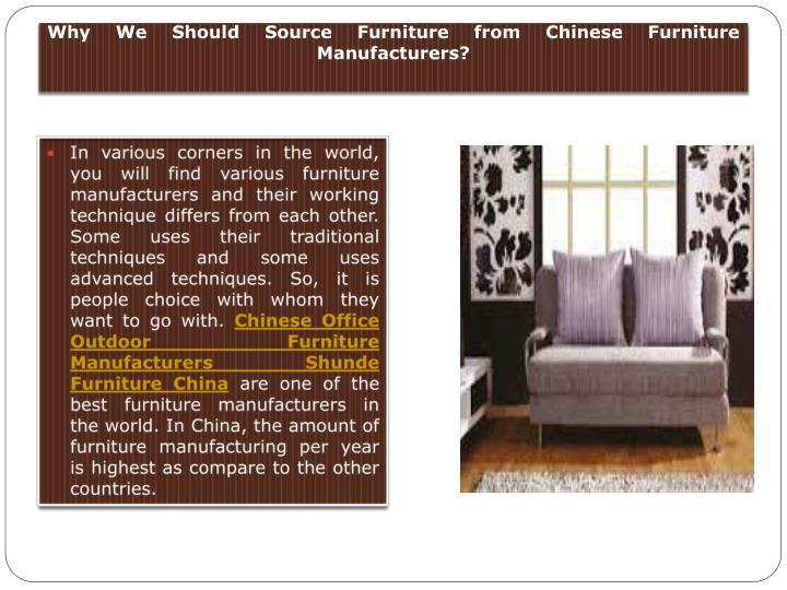 why we should source furniture from chinese furniture manufacturers n.