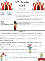 1 st Grade NEWS September 2014