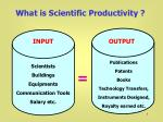 What is Scientific Productivity ?