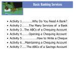 Activity 1………….Why Do You Need A Bank? Activity 2………The Many Services of  a Bank