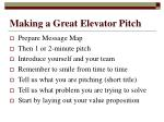 Making a Great Elevator Pitch