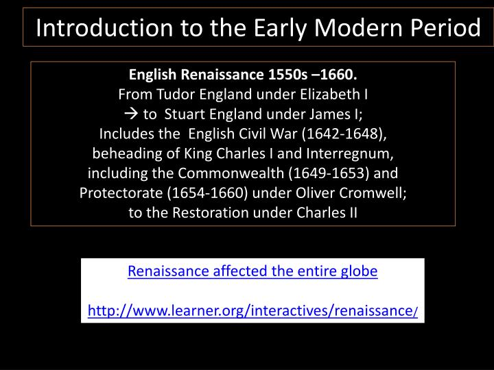 introduction to the early modern period n.