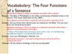 Vocababulary : The Four Functions of a Sentence