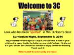 Curriculum Night, September  9 , 2014