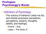 Prologue: Psychology's Roots