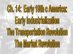 Ch. 14: Early 19th c America: Early Industrialization The Transportation Revolution