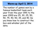 Warm-up April 2, 2014