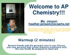 Welcome to AP Chemistry!!!