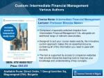Custom: Intermediate Financial Management Various Authors