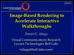Image-Based Rendering to Accelerate Interactive Walkthroughs