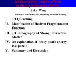 Jet Quenching and Its effects  in Strong Interaction Matter