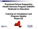 Preschool/School Supportive Health Services Program (SSHSP) Medicaid-in-Education