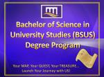 Bachelor of Science in University Studies (BSUS) Degree Program