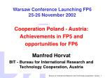 Warsaw Conference Launching FP6 25-26 November 2002