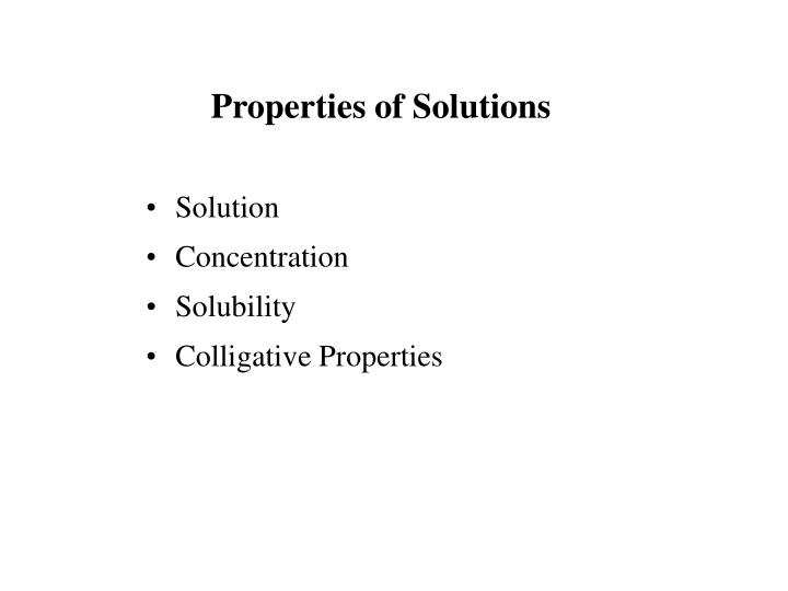 properties of solutions n.
