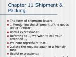 Chapter 11 Shipment & Packing