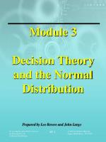 Module 3 Decision Theory and the Normal Distribution