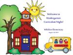 Welcome to Kindergarten Curriculum Night! Whitlow Elementary August  30, 2012