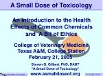 A Small Dose of Toxicology