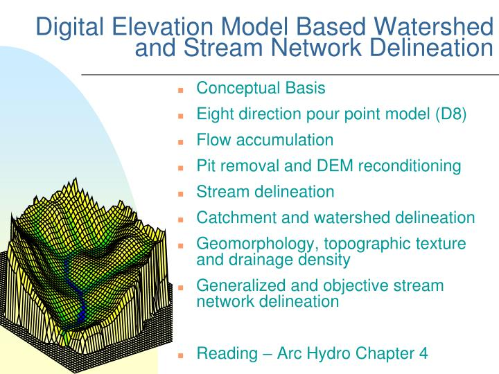 digital elevation model based watershed and stream network delineation n.