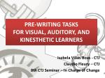PRE-WRITING TASKS  FOR VISUAL, AUDITORY, AND KINESTHETIC LEARNERS