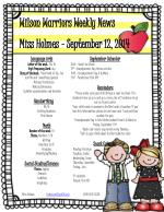 Wilson Warriors Weekly News Miss Holmes – September 12, 2014