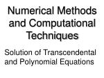 Numerical Methods and Computational Techniques