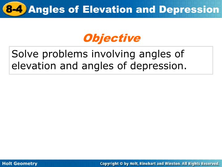 problem solving lesson 8-4 angles of elevation and depression