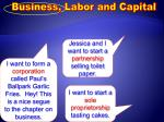 Business, Labor and Capital