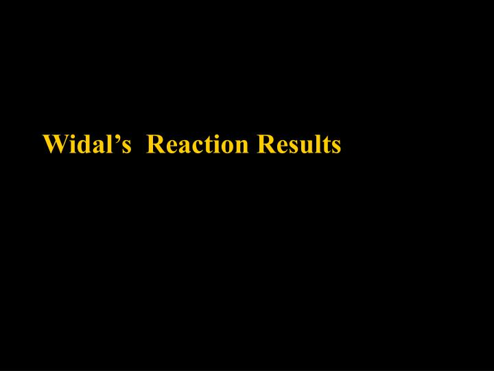 widal s reaction results n.