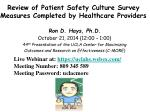 Review of Patient Safety Culture Survey Measures Completed by Healthcare Providers