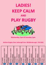LADIES! KEEP CALM AND PLAY RUGBY