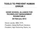 Tools to Prevent Human Error