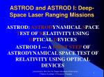 ASTROD and ASTROD I: Deep-Space Laser Ranging Missions