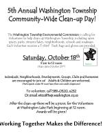 5th Annual Washington Township Community-Wide Clean-up Day!