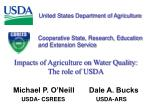 Impacts of Agriculture on Water Quality: The role of USDA