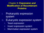 Chapter 8: Expression and Modification of Recombinant Proteins