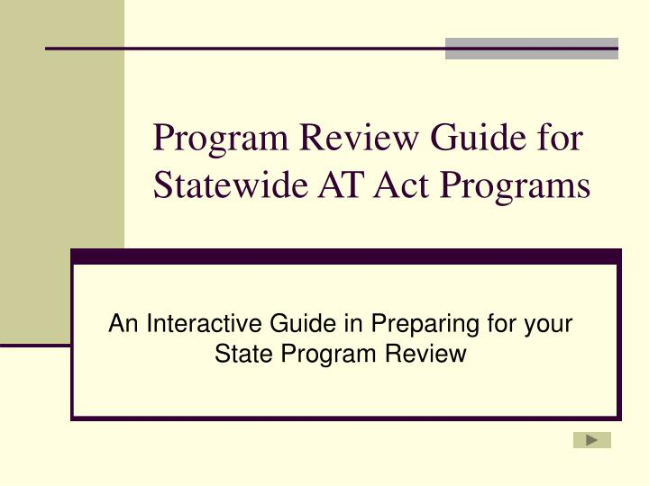 program review guide for statewide at act programs n.