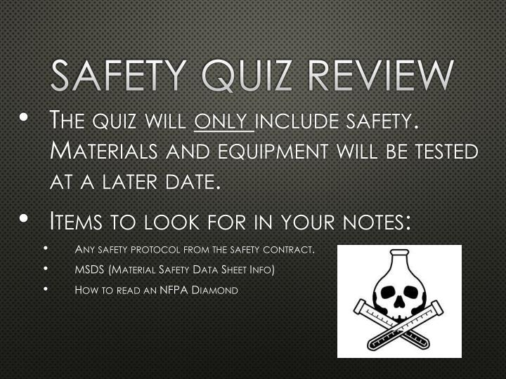 safety quiz review n.