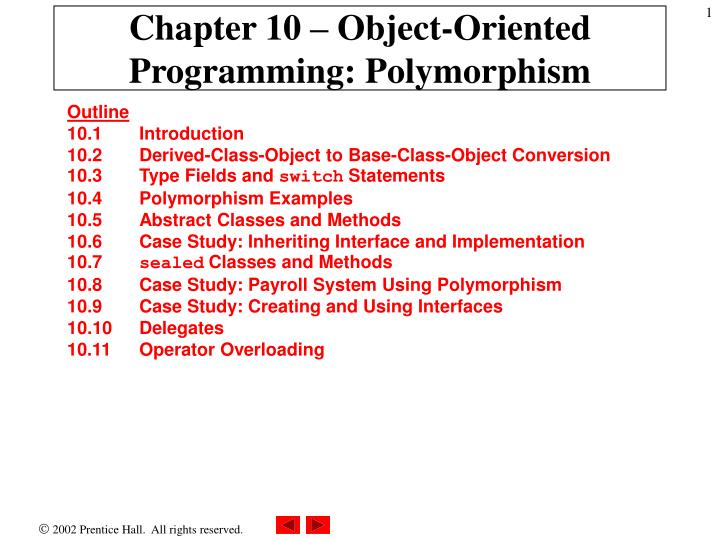 chapter 10 object oriented programming polymorphism n.