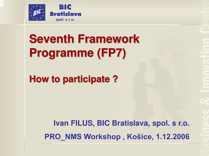 seventh framework programme fp7 how to participate n.