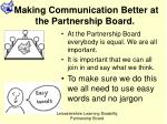 Making Communication Better at the Partnership Board.