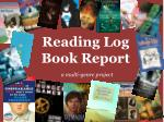 Reading Log  Book  Report