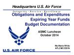 Obligations and Expenditures Expiring Year Funds Budget Documentation
