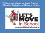 The American Alliance for Health, Physical Education, Recreation and Dance presents….