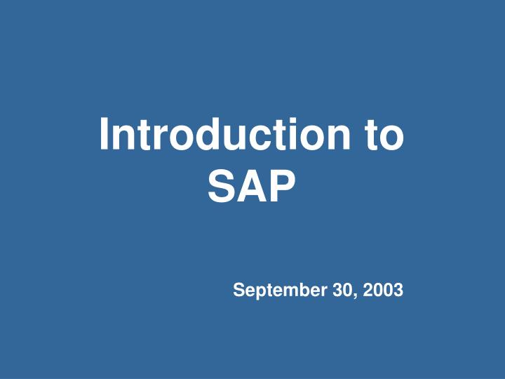 introduction to sap n.